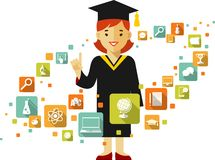 Graduates concept with people and education icons Royalty Free Stock Photo