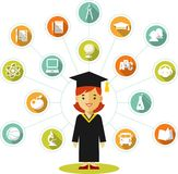 Graduates concept with young woman and education icons Stock Photos