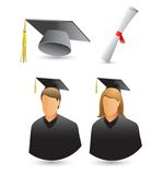 Graduates, diploma, and cap on white backdrop. White background with female and male graduates, diploma, and cap Stock Images