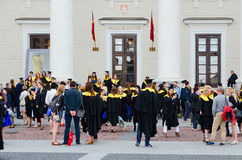 Graduates of European Humanities University after official gradu. VILNIUS, LITHUANIA - JULY 10, 2015: Graduates of the European Humanities University after the Royalty Free Stock Images