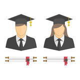 Graduates in gown and graduation cap icon. Stock Images