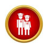 Graduates in graduation cap icon, simple style. Graduates in graduation cap icon in simple style on a white background Stock Photo