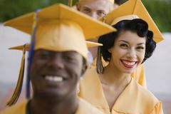 Graduates in line for degree Royalty Free Stock Images