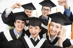Graduates making selfie photo in classroom Royalty Free Stock Photography
