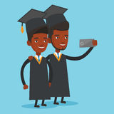Graduates making selfie vector illustration. Cheerful graduates in cloaks and graduation caps making selfie. Happy graduates making selfie with cellphone royalty free illustration