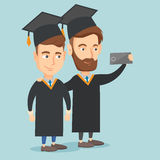 Graduates making selfie vector illustration. Stock Photos
