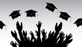 Graduates, People throw square academic cap, oxford cap. Royalty Free Stock Photography