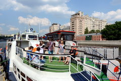 Graduates of schools on tours of the Moscow river on a pleasure boat. Royalty Free Stock Image