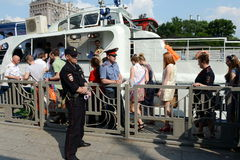 Graduates of schools on tours of the Moscow river on a pleasure boat. Stock Images