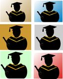 Graduates silhouettes Royalty Free Stock Photo