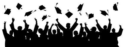 Graduates throwing cap. Silhouette high achievements. School student hat vector.  royalty free illustration