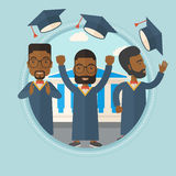 Graduates throwing up hats vector illustration. African-american graduates throwing up hats on background of academy building. Graduates in cloak and graduation stock illustration