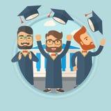 Graduates throwing up hats vector illustration. Happy caucasian graduates throwing up hats on background of academy building. Graduates in cloak and graduation vector illustration