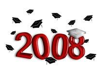 Graduatie 2008 - Zilver en Granaat Stock Afbeelding