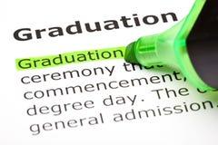 ?Graduatie? die in groen wordt benadrukt Stock Fotografie