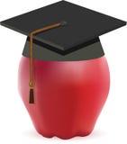Graduatie GLB - Zwarte Baret op Apple Royalty-vrije Stock Foto's