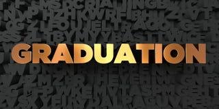 Graduatie - Gouden tekst op zwarte achtergrond - 3D teruggegeven royalty vrij voorraadbeeld vector illustratie