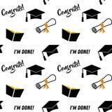 Graduatie naadloos patroon Zwarte en gouden vectorachtergrond voor graduatiepartij of ceremonieuitnodiging, het begroeten stock illustratie