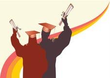 Graduatie in silhouet Stock Foto's