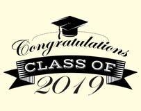 Graduatie vectorklasse van de Gelukwensengediplomeerde van Congrats van 2019 grad vector illustratie