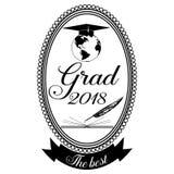 Graduatieembleem, het malplaatje van het kentekenontwerp Stock Foto