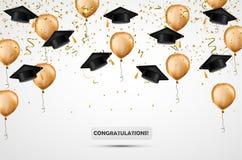 Graduatiehoed Confettien en gouden ballons Vector illustratie De achtergrond van de viering Studentenkop stock illustratie