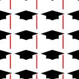 Graduatiehoed Logo Template Design Elements Vector illustratie die op witte achtergrond wordt geïsoleerdd Naadloos patroon royalty-vrije illustratie