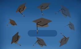 Graduatiekappen - Zwarte die Baretten in de Lucht worden geworpen Stock Foto's