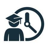 Graduating cap student time icon. On white background Stock Photos