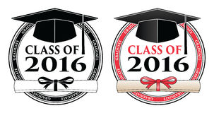 Graduating Class of 2016. Is a design in black and white and color that shows your pride as a graduate of the class of 2016. Includes a cap, text and diploma stock illustration