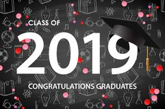 Free Graduating Class Of 2019. Poster, Party Invitation, Greeting Card In Gold Colors. Grad Poster, Vector Illustration. Stock Images - 145089234