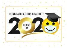 Graduating class of 2020, smile in academic cap & medical mask