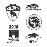 Graduating class vector badges, emblems. T-shirt design. Graduating class badges, emblems. T-shirt design for university college. Vector illustration Stock Images