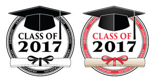 Graduating Class of 2017 - Vector. Is a design in color or in black and white that shows your pride as a graduate of the class of 2017. Includes a cap, text and Stock Photos