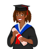 Graduating from college. Young colored skinned woman graduating college Royalty Free Stock Photography