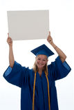 Graduating Girl Holding Copyspace Royalty Free Stock Photo