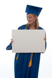 Graduating Girl Holding Copyspace Royalty Free Stock Photography