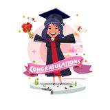 Graduating happy student girl. character design with congratulat. Ion label -  illustration Stock Image
