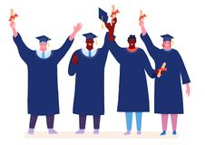 Graduating happy Students isolated on white background. Vector illustration in a flat cartoon style stock illustration