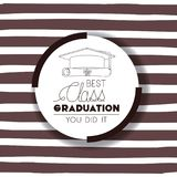Graduating lettering card with hat and diploma. Vector illustration design Stock Photos