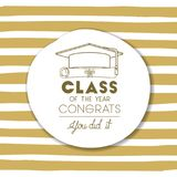 Graduating lettering card with hat and diploma. Vector illustration design Stock Image