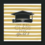 Graduating lettering card with hat and diploma. Vector illustration design Royalty Free Stock Images