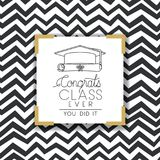 Graduating lettering card with hat and diploma. Vector illustration design Stock Photography