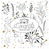Graduating lettering card with hat and diploma. Vector illustration design Stock Images