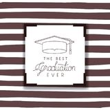 Graduating lettering card with hat graduation. Vector illustration design Royalty Free Stock Image