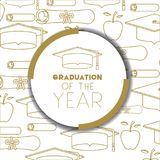 Graduating lettering card with hat graduation. Vector illustration design Stock Image