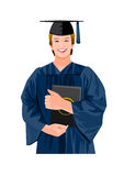 Graduating man. A man is posing in his graduating cap and gown Royalty Free Stock Images