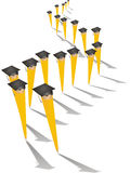 Graduating Pencils on Parade. A Parade of Pencils on Graduation Day Royalty Free Stock Image