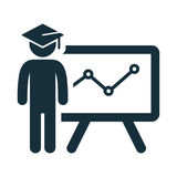 Graduating presentation student icon. On white background Stock Images