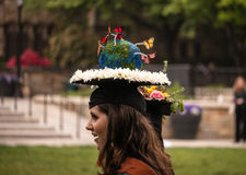 Graduating student with decorated hat Royalty Free Stock Photography